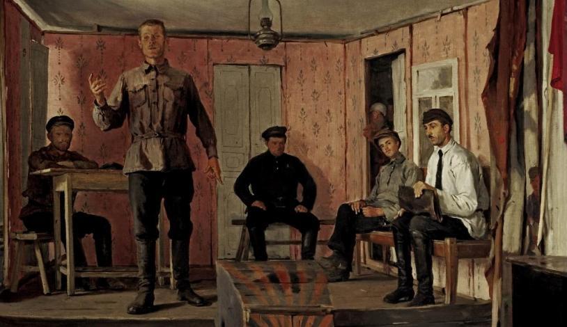 """Е.М. Чепцов """"Заседание сельячейки"""", 1924 год."""
